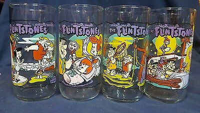 1991 hardees Flinstones complete drinking glass set Barney Fred Wilma betty