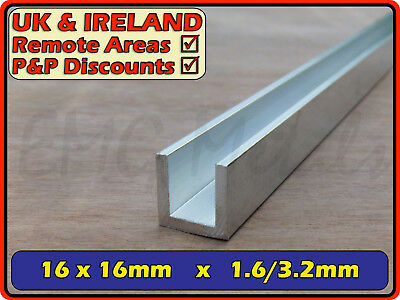 Aluminium Channel (C U section, gutter, profile, glazing,edging) | 16x16 mm