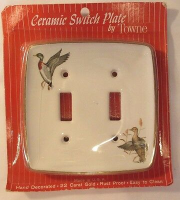 Vintage Ceramic Double Switch Plate Cover Hand Decorated Ducks 22 Carat Gold Nos