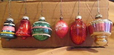 6 WONDERFUL MIX LOT VINTAGE MERCURY 1940-50's GLASS CHRISTMAS BULBS PRE-OWNED