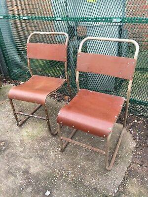 Vintage Mid Century Remploy Stacking  Industrial Tubular 2 Chairs