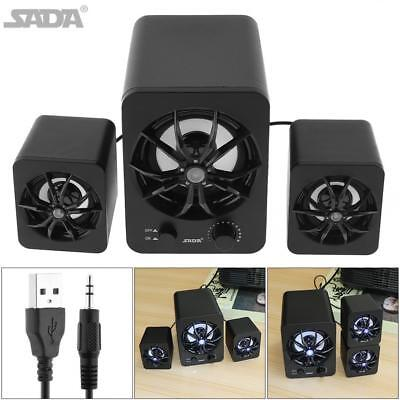USB Powered Computer Speakers Subwoofer System PC Laptop LED 2.1 Stereo Bass