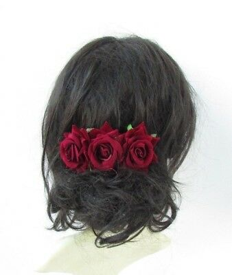 Burgundy Wine Deep Red Rose Flower Hair Comb Bridesmaid Fascinator Bridal 5007