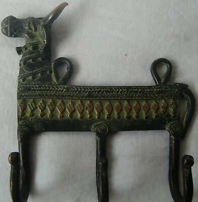 Decorative Vintage Wall Hanging Hooks Coat Hanger Bull Face Brass Metal Statue