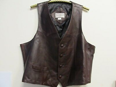 Continental Leather Fashions Mens Brown Leather Vest Size 50 U.S.A.