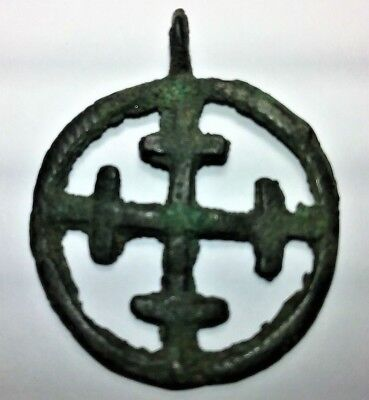 c. 8th-11th CENTURY MEDIEVAL EUROPE CRUSADER CROSS,  RARE, W/ OLIVE GREEN PATINA