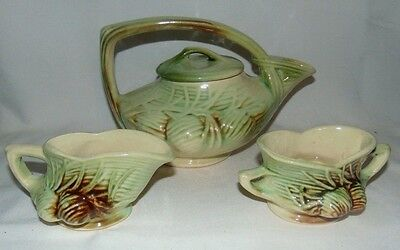 McCoy Pinecone Teapot with Lid Creamer Sugar Vintage Green Brown