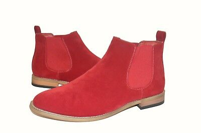 Mens Casual Designer Chelsea Boots Red Suede Slip-Ons Shoes UK 6-12