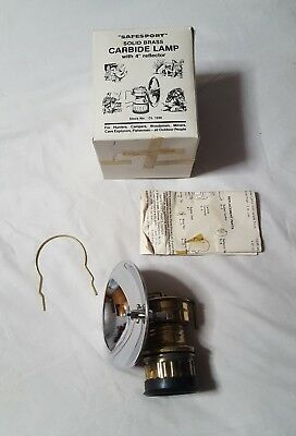"Vintage NOS SAFESPORT Solid Brass Carbide Lamp with 4"" Reflector Stock No CL1500"