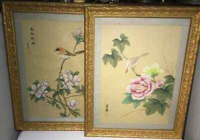 Pair Of Vintage Chinese Painting on Silk Birds and Flowers Signed - Framed