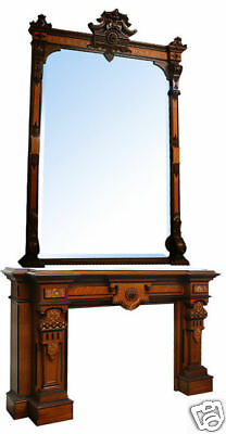 Antique Victorian Mantle and Over Mirror #5709