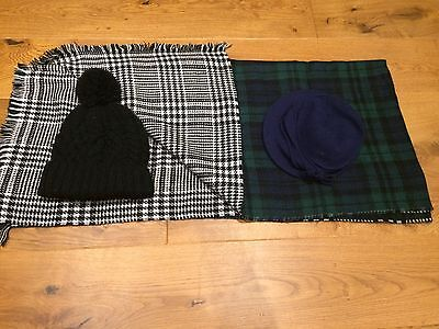 Reversible Large scarf+ 2 X matching hats(black & Blue)