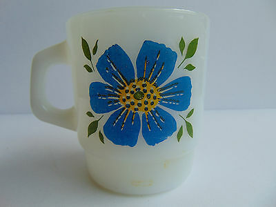 Vintage Fire-King Milk Glass BLUE & RED Flowers Coffee Cup Stacking Mug