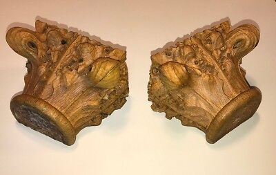 Two Antique Architectural Hand-carved Oak Capitals, building furniture salvage