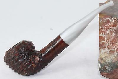 Estate Briar Pipe-Italy-Rhodesian-Deeply Ring Blasted-Silver Lucite-Refurbished