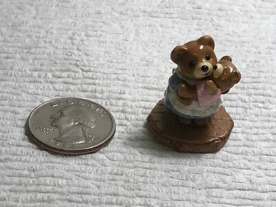 Wee Forest Folk T-12 Momma Bear with girl cub from Tiny Teddy Series