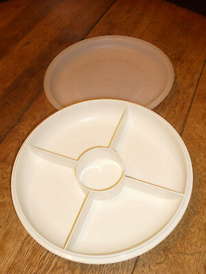 Vintage Tupperware Divided Serving Tray Vegetable Snack Condiment Dish w/ Lid
