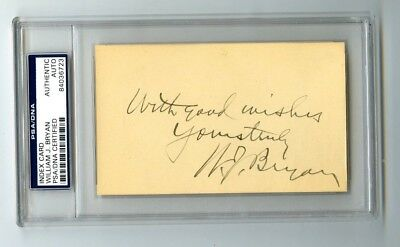 William Bryan Presidential Candidate Cross of Gold Speech Signed Index Card PSA