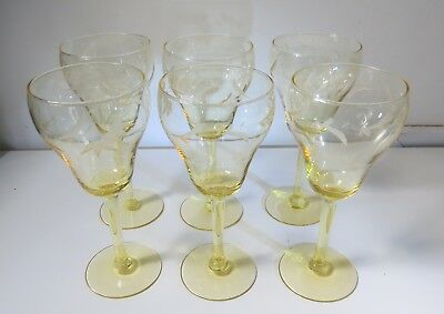 Vintage Yellow Etched Crystal Stemware - Wine /Drinking Glasses - Set of 6