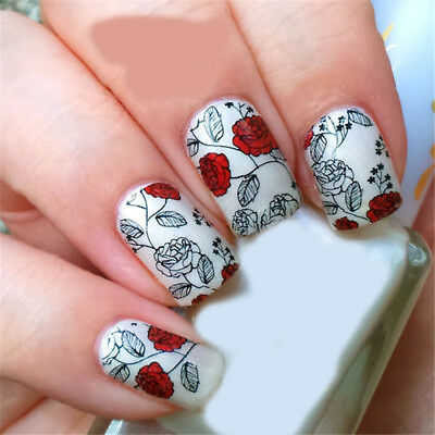 Nail Art Water Decals Stickers Transfers VALENTINES Day Love Roses Flowers Y133