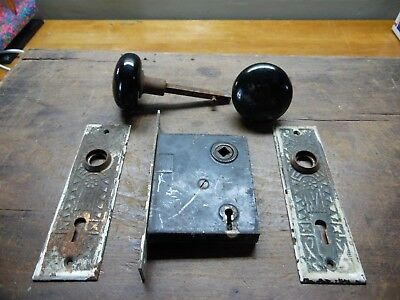 Vintage/Antique Door Knob & Latch W/ Decorative Covers