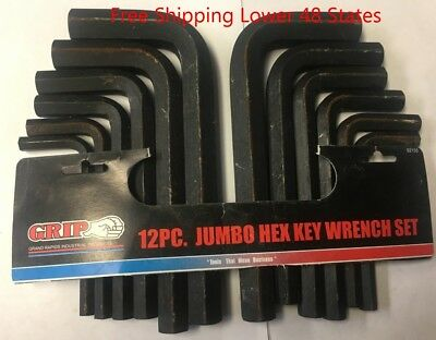Grip 12 pc Jumbo Hex Key Wrench Set Standard (SAE) and Metric (MM) # 92155