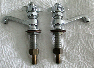 Vtg Chrome Hot Cold Faucets Spring Loaded Handles NOS NEW Standard Plumbing NICE
