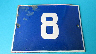Vintage Door House Blue Porcelain Enamel Number 8 Tin Sign Plate