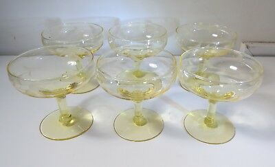 Vintage Yellow Etched Crystal Stemware - Dessert Glasses - Set of 6