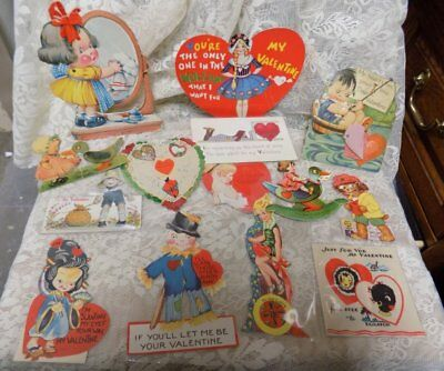 Lot Of 14 Vintage Paper  Valentines~1920's-1940's~Used~Lot 7