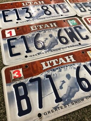 "Utah License Plate ""GREATEST SNOW ON EARTH"" used, expired, random characters"