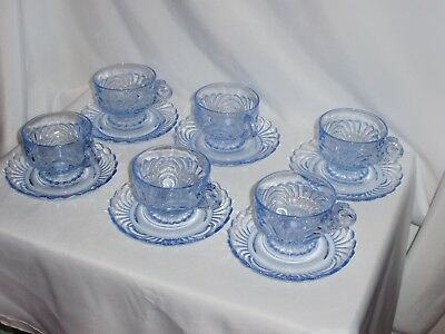 Blue Caprice Cups And Saucers  Lot Of 6