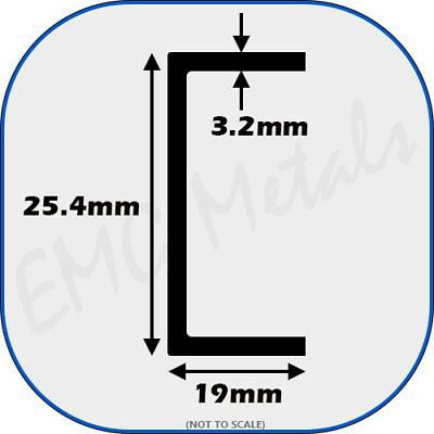 "Aluminium Channel (C U section, gutter, profile,ally,alloy) | 1"" x 3/4"""