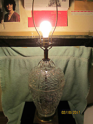 Antique Rare Solid Heavy Cast Brass Footed Depression Glass Table Lamp