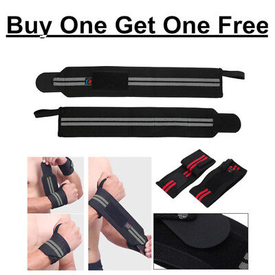 Weight Lifting Wrist Wraps Bandage Cotton Grip Brace Hand Support GYM Straps UK