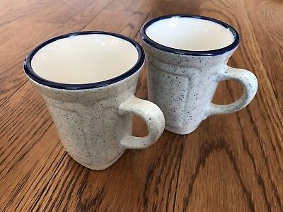 SYRACUSE CHINA  6A White  Blue Trim Speckle  Coffee Cup Mug lot of 2 cups