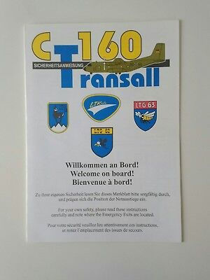 Original Safety Card Transall C-160 Luftwaffe *  Air Force * NEU