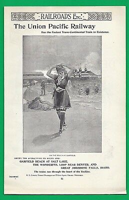1893 Print Ad ~ UNION PACIFIC RAILWAY ~ Shows GARFIELD BEACH, SALT LAKE, UTAH