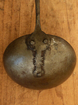 Antique EARLY Hand Wrought FANCY Forged IRON Hearth Cooking Ladle FOLK ART #6