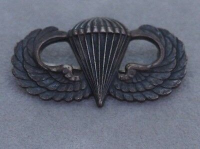 WW2 US Army Sterling Silver Airborne Paratrooper Badge Jump Wings Pin Medal
