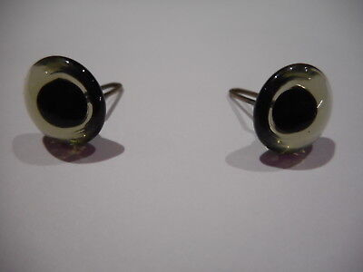 Collectors LIGHT COLOURED CHARCOAL 9mm Shiny Teddy Bear Eyes with Loops x 1 pair
