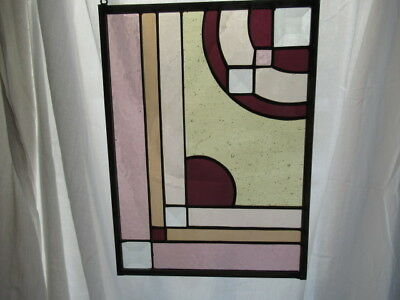 Unique Stained Leaded Glass Geometric Window Hanging  FREE SHIPPING
