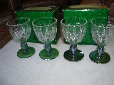 Vintage Lot of 4 Avon Emerald Accent Cordial Wine Glasses w/ Green Stem in Box