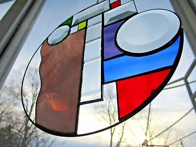 Art Stained Leaded Glass Geometric/Circular Window Hanging Unique  FREE SHIPPING