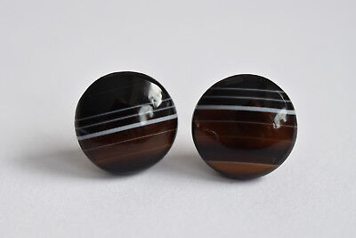 Stunning Pair of large Antique 9ct gold banded agate stud earrings