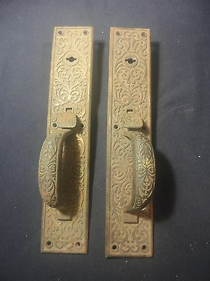 Pair 2 Antique Heavy Brass/Bronze ? East Lake Door Pulls Ornate Estate Find