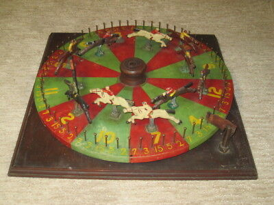 Vintage Horse Racing Roulette Wheel, Folk Art,Carnival, Gambling Device, Antique