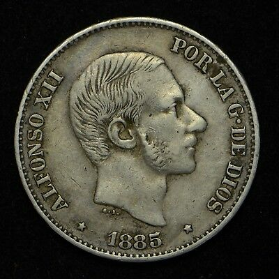 1885-Cs Spain 50 Cent De Peso Philippine Minted .835 Silver (cn4806)