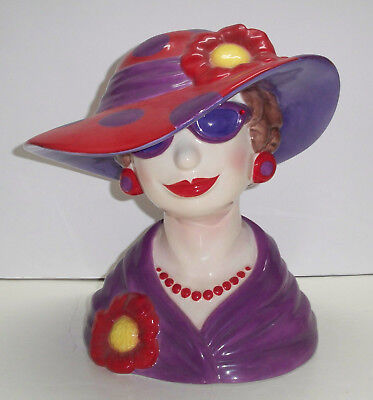 """""""PAINT THE TOWN RED"""" LARGE RED HAT LADY HEAD VASE 2004 Westland Giftware"""
