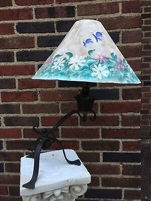 Antique Early 19th C Hand Forged Wrought Iron Table Lamp/Hand Painted Shade
